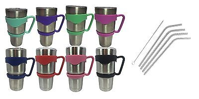 Tumbler Handle 30 oz YETI Holder Stainless Steel Straw Red Pink Blue - Pink Sword