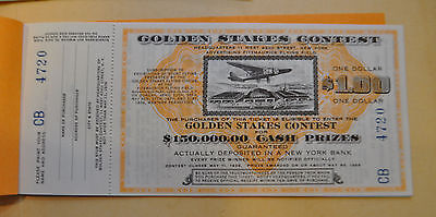 Vtg Golden Stakes Contest Sweepstakes Lottery Ticket Stub Unused New York 1936