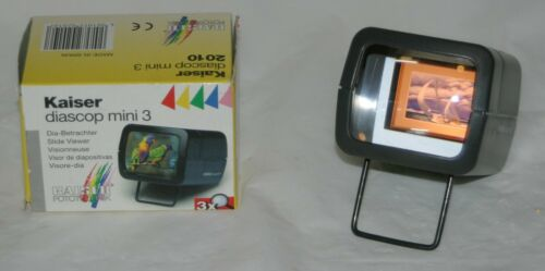 "Kaiser Diascop Mini 3 Lighted 2"" x 2"" Slide Viewer Single Compact Magnifier VGUC"