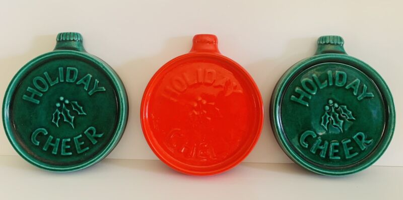 Vintage 1975 Duncan Ceramics Holiday Ornament Coasters by Cathy Set of 3