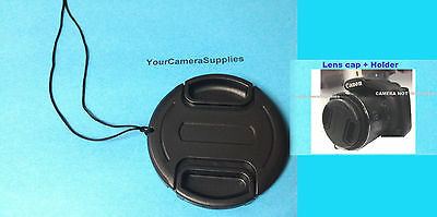 FRONT SNAP-ON LENS CAP to CAMERA CANON POWERSHOT SX520 SX530 SX540 HS+HOLDER