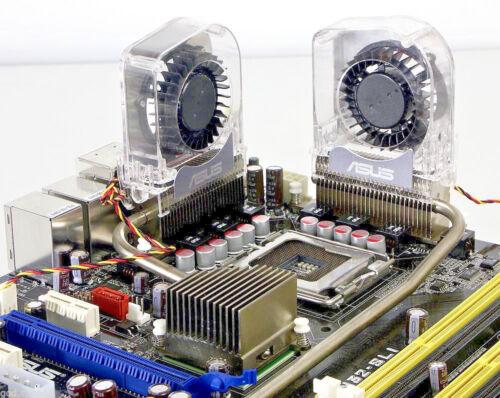 Lot of 2 ASUS Motherboard Optional Heatsink Chipset VRM Heatpipe Cooling Fan