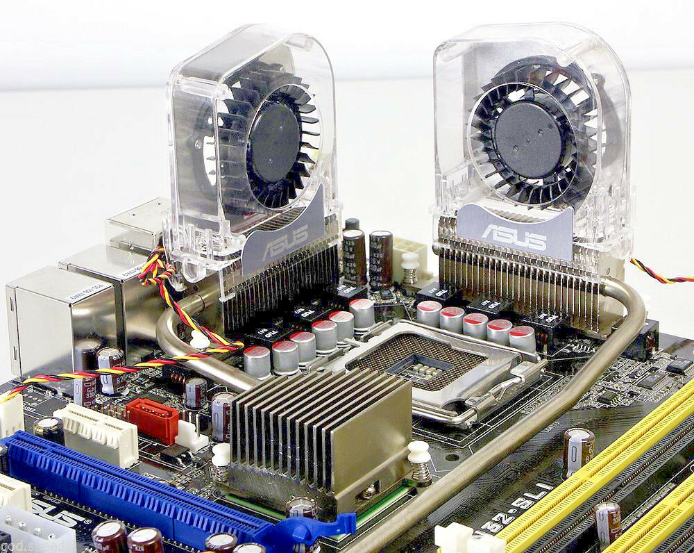 2X Asus Motherboard Mainboard Optional Heatsink Chipset VRM Heatpipe Cooling FAN