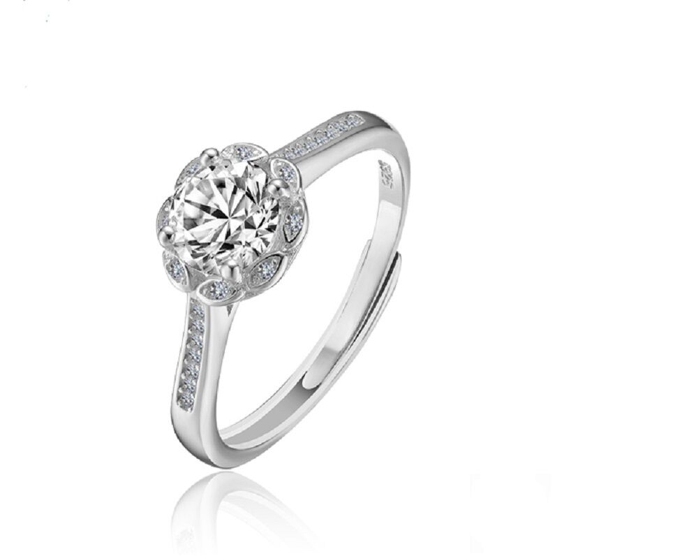 CC Jewelry Women 925 Sterling Silver Zircon Luxury Promise Adjustable Open Ring Fashion Jewelry