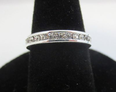 SIZE 6 STERLING SILVER PLATED STACKABLE APRIL CRYSTAL CLEAR ETERNITY 3MM RING
