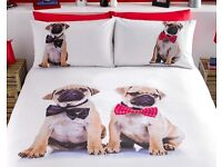 Pug duvet sets in single, double and king