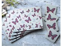Vintage Butterflies Placemat And Coaster Set
