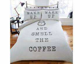 Wake Up And Smell The Coffee Duvet Set. Single £17, Double £26, King £32