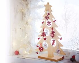 Wooden Christmas Tree with Decorations