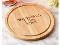 Personalised Couples Chopping Board - Mr & Mrs (Round