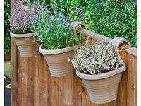 Set Of Three Beige Balcony Planters