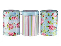 Set Of 3 Vintage Floral Canisters NEW!