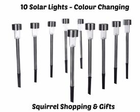 10 Colour Changing LED Solar Garden Lights - New & Boxed