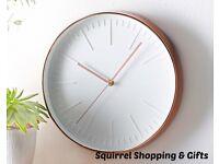Copper Coloured Clock - New Stock