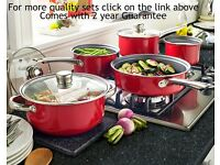 5 Piece Pan Set in red with free colander