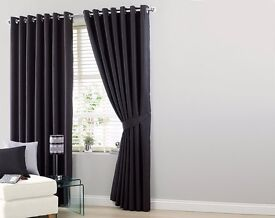 Large Black Faux Silk Curtain