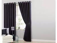 Large Black Faux Silk Curtain Brand New (online shop)