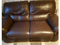 Chocolate DFS Leather Double Sofa