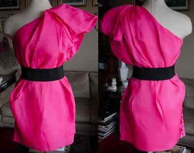 New LANVIN for H&M sz US 10 pink cocktail one shoulder dress $199