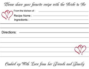 Bridal Shower Recipe Cards 40 Quantity Personalized