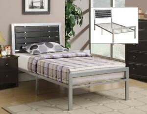 Silver Metal Bed with Wood Panels web exclusive deal (IF721)