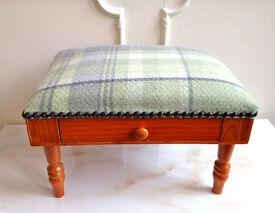 Small Pine Tartan Green Hand Nail Buffet Cushion Pillow Rest + Drawer Manicure