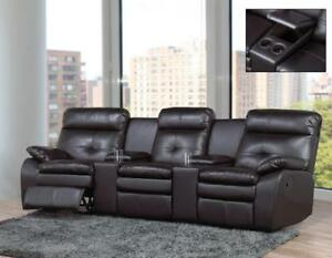 Black Recliner Sofa with 4 Cup Holders and Storage Compartments IF -9075 (BD-1357)