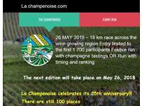 Champagne Half Marathon 2018 (La champenoise) Entry - solo festive run with tastings