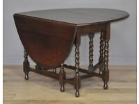Attractive Large Vintage Oak Barley Twist Turned Gate Leg Drop Leaf Dining Table