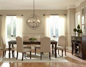 7 Pc Dining Set with nail head chairs on sale (GL801)