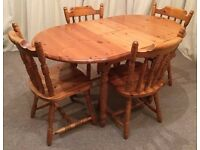 Pine Table & Chairs Oval Extendable Table & 4 Chairs