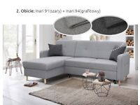 NEW GREY CORNER SOFA BED WITH STORAGE, FREE DELIVERY MORE COLOURS AVAILABLE