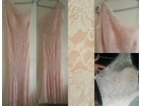 ORP:£125 Pink Maxi Dress Prom Party Evening Gown Bridesmaid Lace Glitter OneShoulder Sparkle Size 14