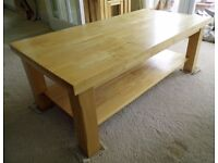 Light Wood Coffee Table with single shelf. Excellent condition
