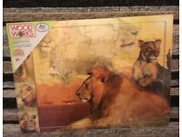 Wood works wooden jigsaw puzzle lion animal scene 36 piece NEW