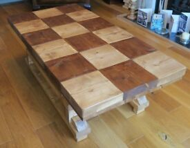 New Contemporary Chequered Top Rustic Coffee Table
