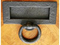 Vintage Victorian/Edwardian Iron Letter Box with Knocker