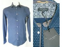 RRP £100 BNWT New/Ticketed TED BAKER London Shirt Blue Target Pattern Mod
