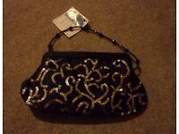Women's/ladies black handbag/shoulder bag/clutch bag/purse with sequin pattern