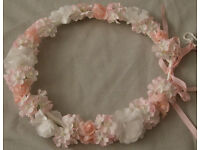 lovely pink and white floral garland for bridesmaid