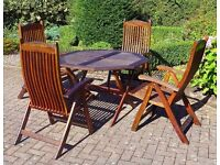 Hardwood Patio Table and Four Chairs