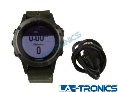 Garmin fēnix 5, Premium Rugged Multisport GPS Smartwatch, Slate Gray/Green Band