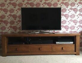 Wide TV unit. Excellent condition solid dark oak wood
