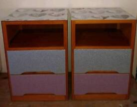 2 X 2 DRAWER BEDSIDE UNITS COVERED IN HEART & PINK/SILVER GLITTER DESIGN
