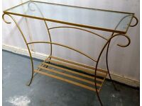 Hall Glass topped gold metal frame table