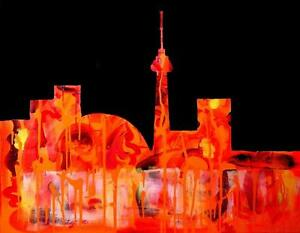 TORONTO SKYLINE Original Painting Art Valerie Koudelka Oakville 905-510-8720 Abstract Orange Black / CN TOWER / 24x30""