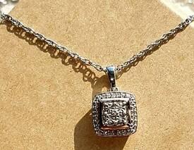 9ct Rose Gold & Silver Diamond Pendant Necklace