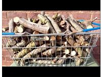 SEASONED HARDWOOD FIRE LOGS FIRE WOOD BASKET FULL OF KINDLING FOR SALE FOR WOOD BURNERS, FIRE PITS