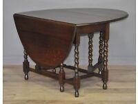 Attractive Large Vintage Oak Barley Twist Turned Gate Leg Drop Leaf Dining Table