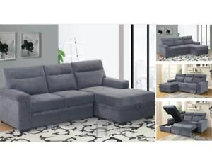 ~~~BIG SUMMER SALE*brand new Modern fabric sectional sofa bed with lift up storage